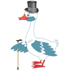 Bird goose in hat and with walking stick vector image