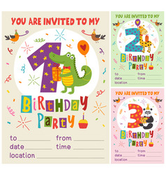 birthday invitation card template with animas vector image
