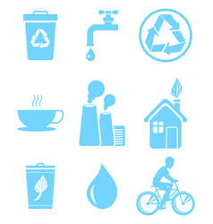 Blue ecology saving and warning isolated icons set vector