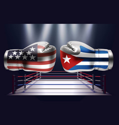 boxing gloves with prints of the usa and cuba vector image