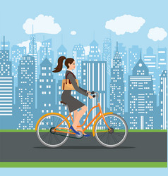 Business lady riding on a cruiser bicycle vector