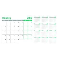 Calendar planner 2019 template vector