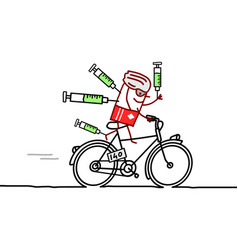 Cartoon cyclist champion and doping issue vector