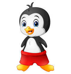 cartoon penguin with red shorts vector image