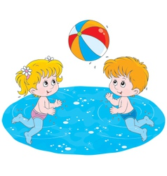 Children play a ball in water vector image