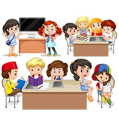 Children studying at their desk vector image