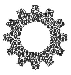 cogwheel composition of coffin icons vector image