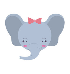 Colorful caricature face of female elephant animal vector
