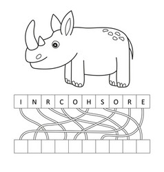 coloring page outline of cartoon cute rhino vector image