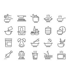 Cooking line icon set vector