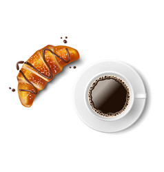 croissant with coffee cup isolated realistic vector image