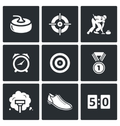 Curling icons set vector