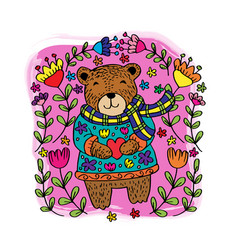 Cute bear with flowers cartoon vector