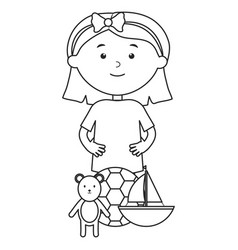cute little girl with bear teddy and sailboat vector image