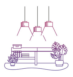 Degraded outline office with lamps hanging and vector