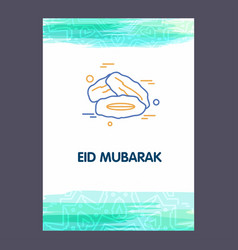 Eid mubarak background greeting card calligraphy vector