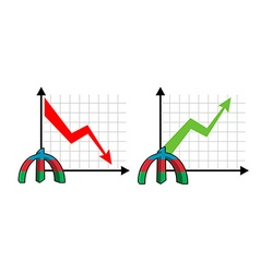 Fall and rise of courses manat oil Red down arrow vector image