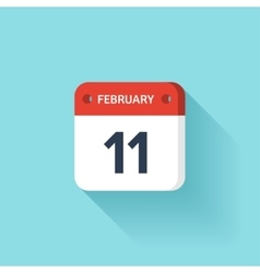 February 11 Isometric Calendar Icon With Shadow vector