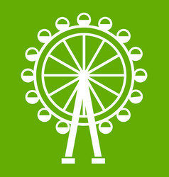 ferris wheel icon green vector image