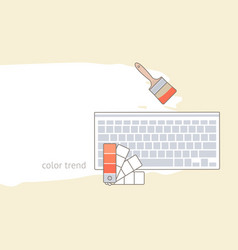 flat lay with color palette guide keyboard and vector image