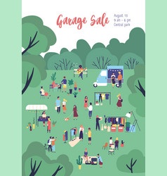 Flyer or poster template for garage sale outdoor vector