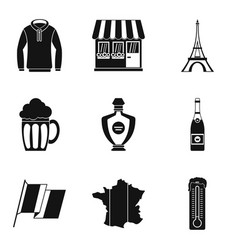 french clothes icon set simple style vector image