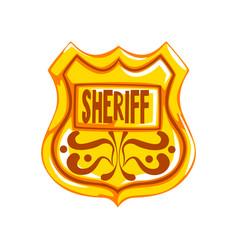 golden sheriff shield badge on vector image