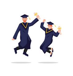 Graduates joyfully bounce vector