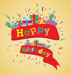 Happy birthday with colorful gift on yellow vector image