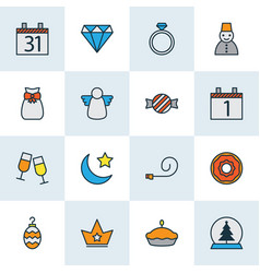 happy icons colored line set with donut toffee vector image