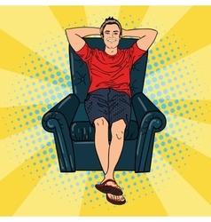 Happy Man Relaxing in Comfortable Chair Pop Art vector