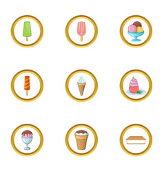 Ice cream assortment icons set cartoon style vector
