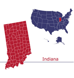 indiana map counties with usa map vector image