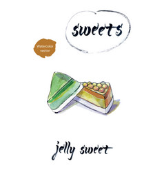 jelly sweet watercolor vector image
