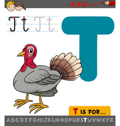 letter t with cartoon turkey vector image