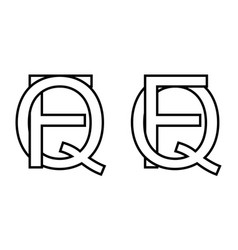 Logo sign fq and qf icon sign interlaced letters q vector