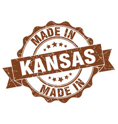 made in kansas round seal vector image
