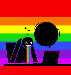 Man is amazed and puking out rainbow saliva by vector