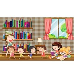 Many girls reading books in room vector