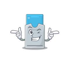 Mascot cartoon design key card with wink eye vector