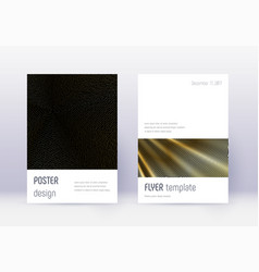Minimalistic cover design template set gold abstr vector