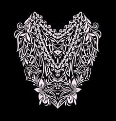 neckline ethnic design floral pattern vector image