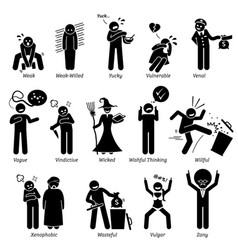 Negative personalities character traits stick vector