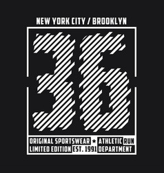 new york typography t-shirt graphics for run vector image