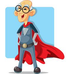 Old senior grandpa superhero cartoon vector