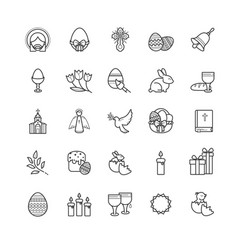 Outline icons - easter symbols spring set vector