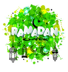 paper text ramadan for congratulations with muslim vector image