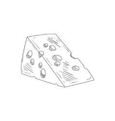 Piece Of Swiss Cheese Hand Drawn Realistic Sketch vector