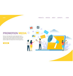 promotion media website landing page design vector image