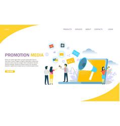 promotion media website landing page design vector image